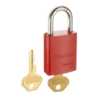 Red Powder Coated Aluminum Safety Padlock, 1-1/2in (38mm) Wide with 1in (25mm) Tall Shackle