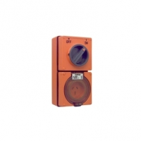 Switched Socket Outlet, 250V, 15A, 3 Flat Pin, IP66, 2 Pole