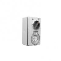 Switched Socket Outlet, 500V, 10A, 5 Round Pin, IP66, 3 Pole, Grey
