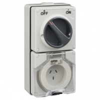 Switched Socket Outlet, 250V, 10A, 3 Flat Pin, IP66, 2 Pole, Grey