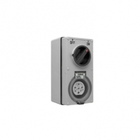 Switched Socket Outlet, 500V, 20A, 7 Round Pin, IP66, 3 Pole, Grey