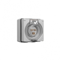 Appliance Inlet, 3 Flat Pin, 15A, 250V, IP66, Grey