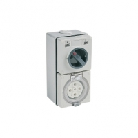 Switched Socket Outlet, 500V, 50A, 5 Round Pin, IP66, 3 Pole, Grey