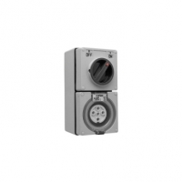 Switched Socket Outlet, 500V, 10A, 5 Round Pin, IP66, 1 Pole, Grey