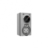 Switched Socket Outlet, 500V, 40A, 4 Round Pin, IP66, 3 Pole, Vertical