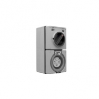 Switched Socket Outlet, 250V, 20A, 3 Round Pin, IP66, 1 Pole, Grey