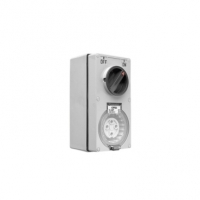 Switched Socket Outlet, 500V, 10A, 4 Round Pin, IP66, 3 Pole, Grey