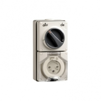 Switched Socket Outlet, 250V, 32A, 3 Round Pin, IP66, 1 Pole, Grey