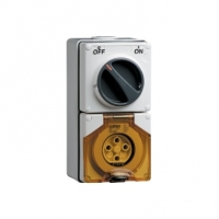 Switched Socket Outlet, 500V, 20A, 4 Round Pin, IP66, 3 Pole, Grey