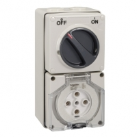 Clipsal Type 56C532 Switched Socket Outlet, 500V, 32A, 5 Round Pin, IP66, 3 Pole, Grey
