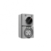 Switched Socket Outlet, 500V, 40A, 4 Round Pin, IP66, 3 Pole, Grey