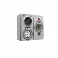 RCD Protected Switched Socket Outlet, 500V, 32A, 5 Round Pin, IP66, 3 Pole, 30mA RCD, Grey