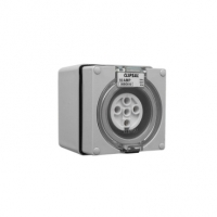 Socket Outlet, 5 Pin, Round, 10A, Grey
