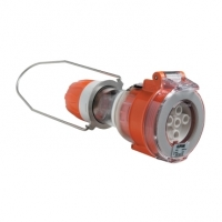 Pendant Outlet, 5 Round Pin, 10A, Electric Orange