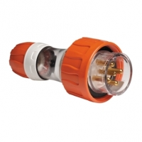 Plug Top, Straight, 5 Round Pin, 10A, 500V, IP66, Grey