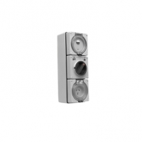 RCD Protected Switched Socket Outlet, 250V, 15A, 3 Flat Pin, IP66, 1 Pole, 30mA RCD, EO